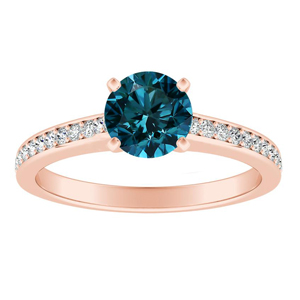 MILA  Classic  Blue  Diamond  Engagement  Ring  In  14K  Rose  Gold  With  0.50  Carat  Round  Diamond