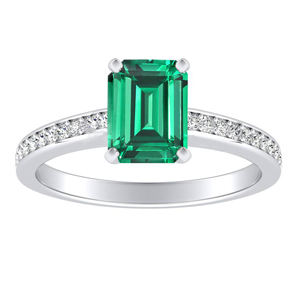 MILA  Classic  Green  Emerald  Engagement  Ring  In  14K  White  Gold  With  0.50  Carat  Emerald  Stone