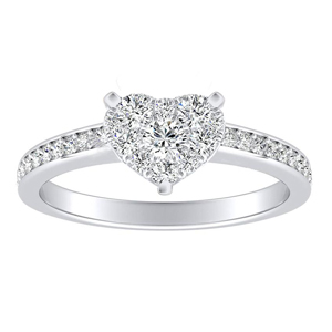 MILA Classic Diamond Engagement Ring In 14K White Gold With Heart Diamond In H-I SI1-SI2 Quality