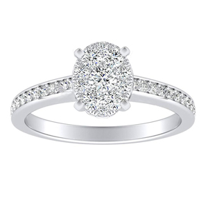 MILA Classic Diamond Engagement Ring In 14K White Gold With Oval Diamond In H-I SI1-SI2 Quality