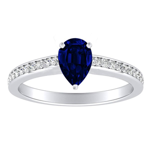 MILA  Classic  Blue  Sapphire  Engagement  Ring  In  14K  White  Gold  With  0.50  Carat  Pear  Stone