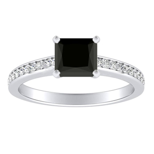 MILA  Classic  Black  Diamond  Engagement  Ring  In  14K  White  Gold  With  1.00  Carat  Princess  Diamond