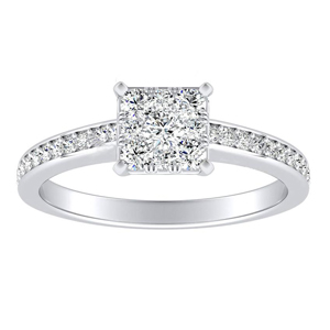 MILA Classic Diamond Engagement Ring In 14K White Gold With Princess Diamond In H-I SI1-SI2 Quality