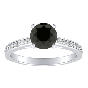 MILA  Classic  Black  Diamond  Engagement  Ring  In  14K  White  Gold  With  1.00  Carat  Round  Diamond
