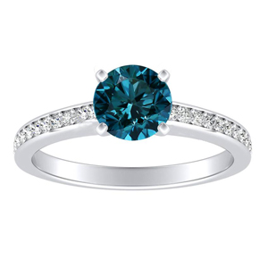 MILA  Classic  Blue  Diamond  Engagement  Ring  In  14K  White  Gold  With  0.50  Carat  Round  Diamond