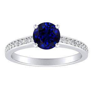 MILA Classic Blue Sapphire Engagement Ring In 14K White Gold With 0.30 Carat Round Stone