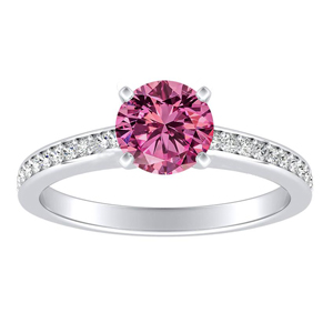 MILA Classic Pink Sapphire Engagement Ring In 14K White Gold With 0.50 Carat Round Stone