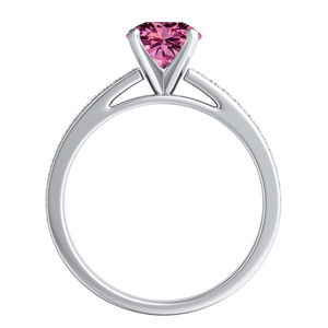 MILA  Classic  Pink  Sapphire  Wedding  Ring  Set  In  14K  White  Gold  With  0.50  Carat  Round  Stone