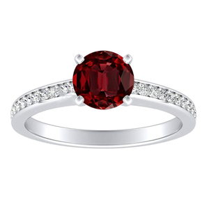 MILA Classic Ruby Engagement Ring In 14K White Gold With 0.30 Carat Round Stone