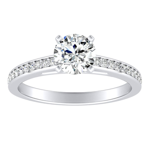 MILA Classic Moissanite Engagement Ring In 14K White Gold With 0.50 Carat Round Stone