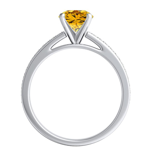 MILA  Classic  Yellow  Diamond  Engagement  Ring  In  14K  White  Gold  With  0.50  Carat  Round  Diamond