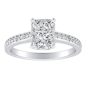 MILA Classic Diamond Engagement Ring In 14K White Gold With Radiant Diamond In H-I SI1-SI2 Quality