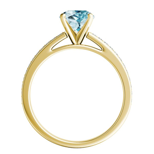 MILA  Classic  Aquamarine  Engagement  Ring  In  14K  Yellow  Gold  With  1.00  Carat  Pear  Stone