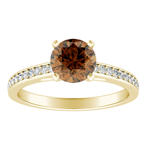 MILA  Classic  Brown  Diamond  Engagement  Ring  In  14K  Yellow  Gold  With  0.50  Carat  Round  Diamond