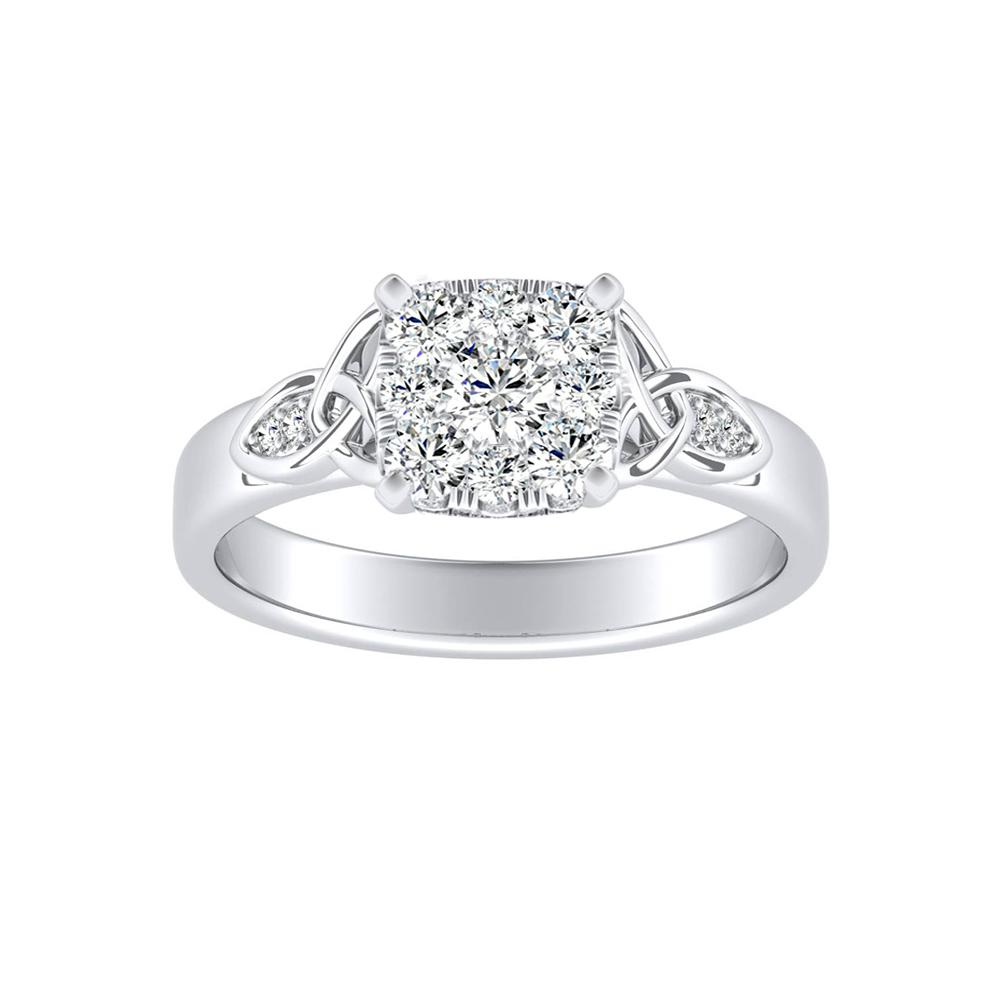 GIOVANNA Vintage Diamond Engagement Ring In 14K White Gold With Cushion Diamond In H-I SI1-SI2 Quality