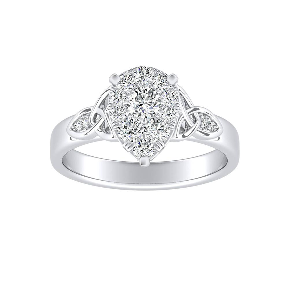 GIOVANNA Vintage Diamond Engagement Ring In 14K White Gold With Pear Diamond In H-I SI1-SI2 Quality