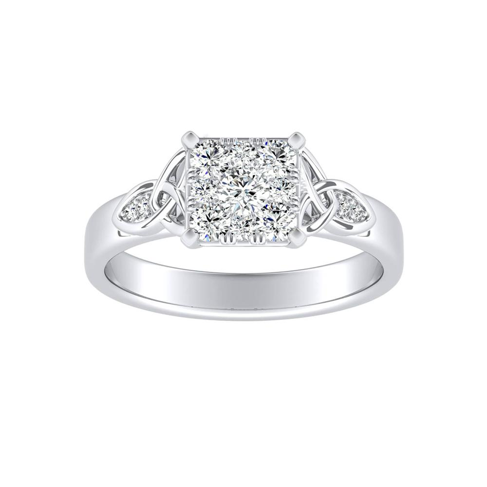 GIOVANNA Vintage Diamond Engagement Ring In 14K White Gold With Princess Diamond In H-I SI1-SI2 Quality