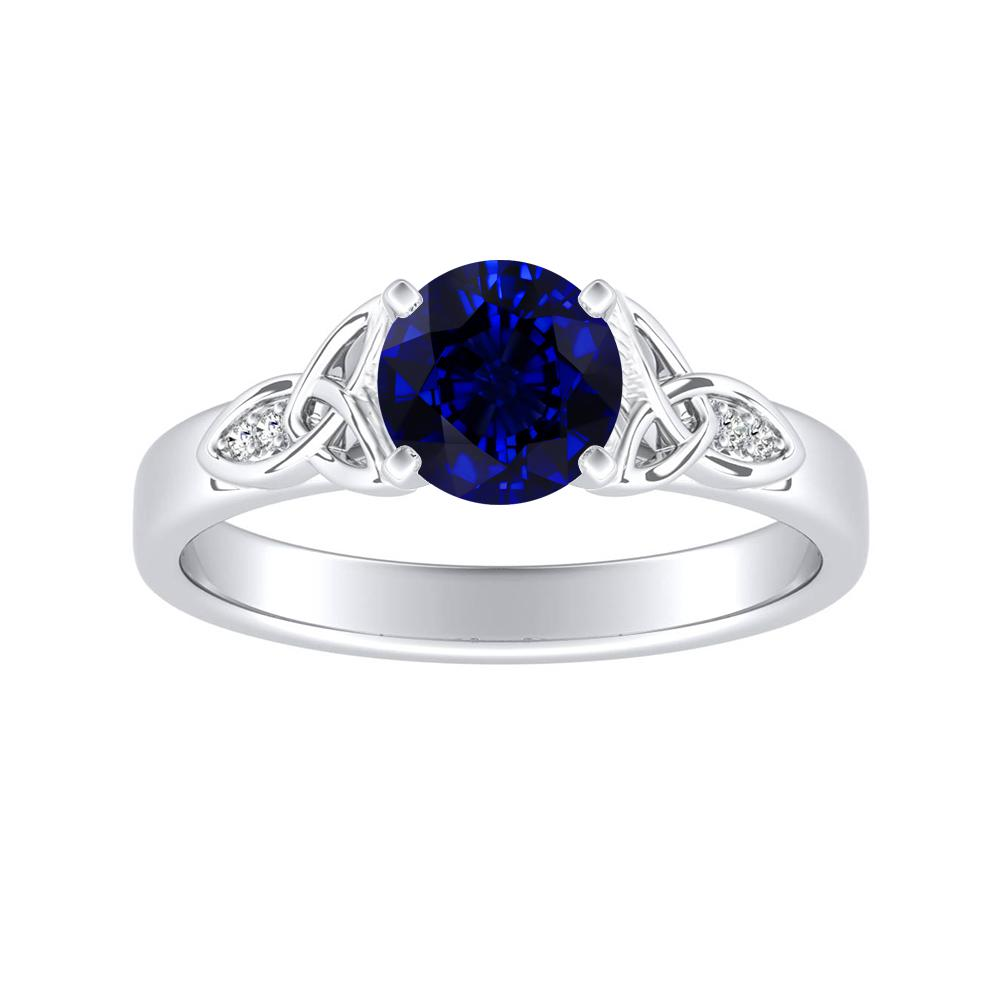 GIOVANNA Vintage Blue Sapphire Engagement Ring In 14K White Gold With 0.50 Carat Round Stone