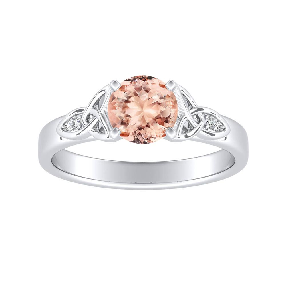 GIOVANNA Vintage Morganite Engagement Ring In 14K White Gold With 1.00 Carat Round Stone