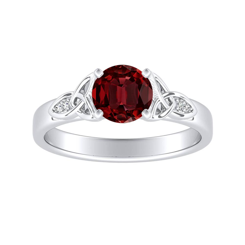 GIOVANNA Vintage Ruby Engagement Ring In 14K White Gold With 0.30 Carat Round Stone