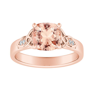 GIOVANNA Vintage Morganite Engagement Ring In 14K Rose Gold With 1.00 Carat Cushion Stone