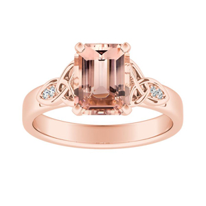 GIOVANNA Vintage Morganite Engagement Ring In 14K Rose Gold With 1.00 Carat Emerald Stone