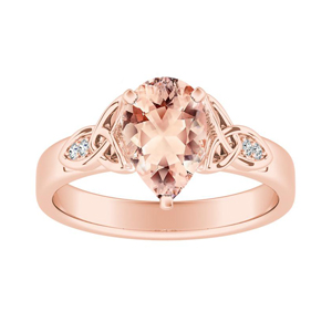 GIOVANNA Vintage Morganite Engagement Ring In 14K Rose Gold With 1.00 Carat Pear Stone