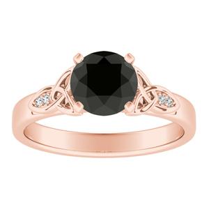 GIOVANNA Vintage Black Diamond Engagement Ring In 14K Rose Gold With 1.00 Carat Round Diamond