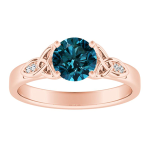 GIOVANNA  Vintage  Blue  Diamond  Engagement  Ring  In  14K  Rose  Gold  With  0.50  Carat  Round  Diamond