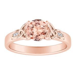 GIOVANNA Vintage Morganite Engagement Ring In 14K Rose Gold With 1.00 Carat Round Stone
