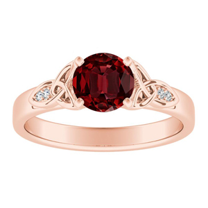 GIOVANNA Vintage Ruby Engagement Ring In 14K Rose Gold With 0.50 Carat Round Stone