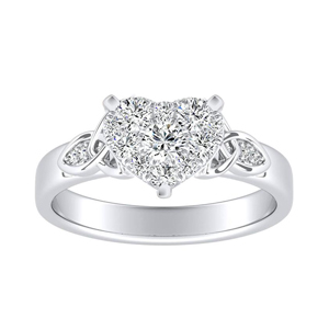 GIOVANNA Vintage Diamond Engagement Ring In 14K White Gold With Heart Diamond In H-I SI1-SI2 Quality