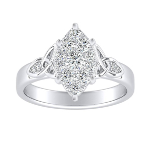 GIOVANNA Vintage Diamond Engagement Ring In 14K White Gold With Marquise Diamond In H-I SI1-SI2 Quality