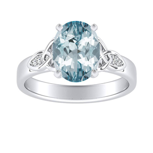 GIOVANNA Vintage Aquamarine Engagement Ring In 14K White Gold With 3.00 Carat Oval Stone