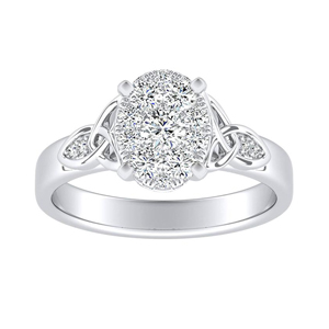 GIOVANNA Vintage Diamond Engagement Ring In 14K White Gold With Oval Diamond In H-I SI1-SI2 Quality