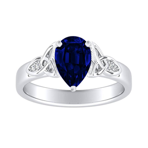GIOVANNA  Vintage  Blue  Sapphire  Engagement  Ring  In  14K  White  Gold  With  0.50  Carat  Pear  Stone