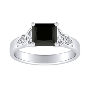GIOVANNA  Vintage  Black  Diamond  Engagement  Ring  In  14K  White  Gold  With  1.00  Carat  Princess  Diamond