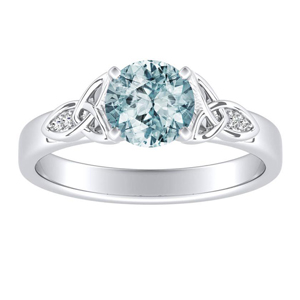 GIOVANNA Vintage Aquamarine Engagement Ring In 14K White Gold With 1.00 Carat Round Stone