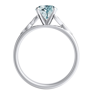 GIOVANNA  Vintage  Aquamarine  Wedding  Ring  Set  In  14K  White  Gold  With  1.00  Carat  Round  Stone