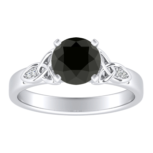 GIOVANNA Vintage Black Diamond Engagement Ring In 14K White Gold With 0.50 Carat Round Diamond