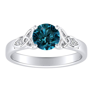 GIOVANNA  Vintage  Blue  Diamond  Engagement  Ring  In  14K  White  Gold  With  0.50  Carat  Round  Diamond