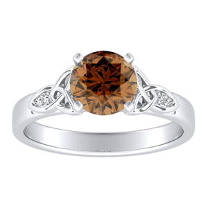 GIOVANNA Vintage Brown Diamond Engagement Ring In 14K White Gold With 0.30 Carat Round Diamond
