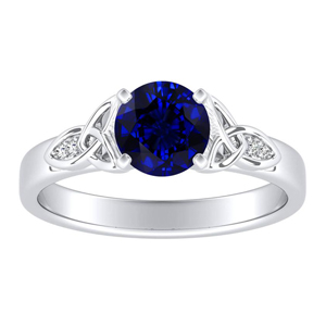 GIOVANNA Vintage Blue Sapphire Engagement Ring In 14K White Gold With 0.30 Carat Round Stone