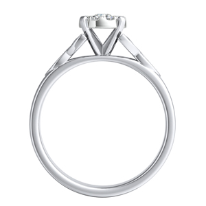 GIOVANNA Vintage Diamond Engagement Ring In 14K White Gold With Round Diamond In H-I SI1-SI2 Quality