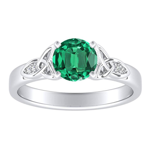 GIOVANNA Vintage Green Emerald Engagement Ring In 14K White Gold With 0.30 Carat Round Stone