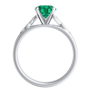 GIOVANNA  Vintage  Green  Emerald  Engagement  Ring  In  14K  White  Gold  With  0.50  Carat  Emerald  Stone