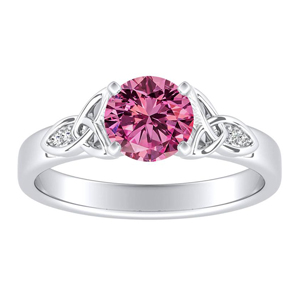 GIOVANNA Vintage Pink Sapphire Engagement Ring In 14K White Gold With 0.30 Carat Round Stone