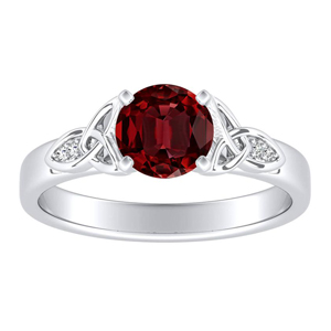 GIOVANNA Vintage Ruby Engagement Ring In 14K White Gold With 0.50 Carat Round Stone