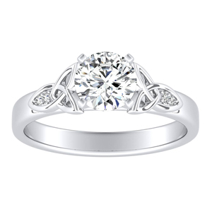 GIOVANNA Vintage Moissanite Engagement Ring In 14K White Gold With 0.50 Carat Round Stone