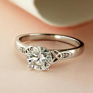 GIOVANNA Vintage Diamond Engagement Ring In 14K White Gold With 0.50ct. Round Diamond